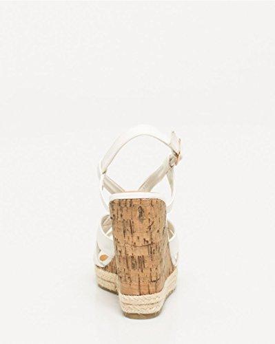 Sandal LE CH Faux Women's TEAU White Leather T Strap Wedge SFFawBfq8x