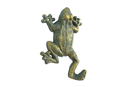 "Handcrafted Nautical Decor Antique Seaworn Bronze Cast Iron Frog Hook 6"" - Door Hook - Decorative Frog"