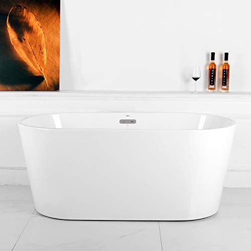 FerdY 55'' Acrylic Freestanding bathtub, White Modern Stand Alone bathtub Soaking Bathtub, Easy to Install, cUPC Certified, Drain & Overflow Assembly Included ()