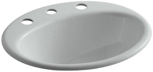 KOHLER K-2905-8-95 Farmington Self-Rimming Bathroom Sink, Ice Grey