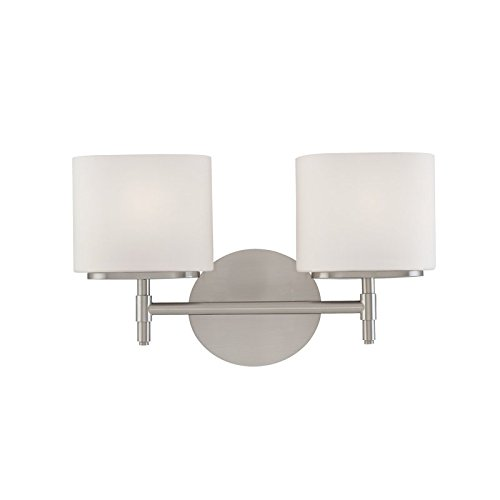 Trinity 2-Light Vanity Light - Satin Nickel Finish with Opal Matte Glass Shade (Satin Nickel Flat Wall Lamp)