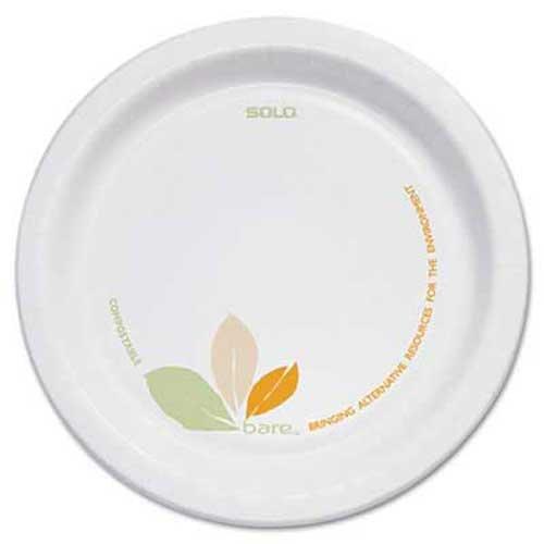 SOLO Cup Company Bare Paper Dinnerware, 6 inch Plate, Green/Tan, 500/Carton