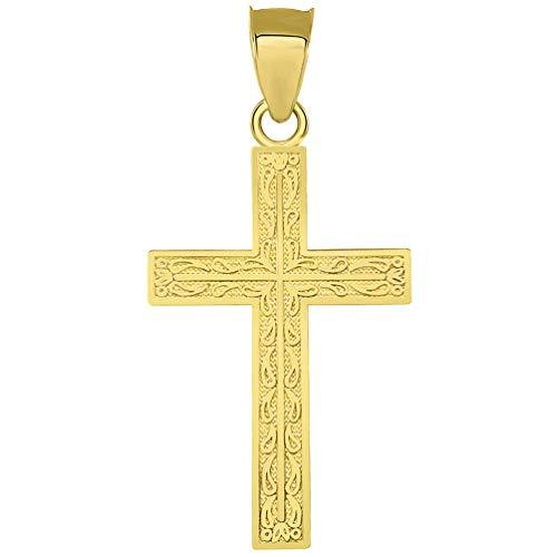 Solid 14k Yellow Gold Ornate Latin Cross Pendant