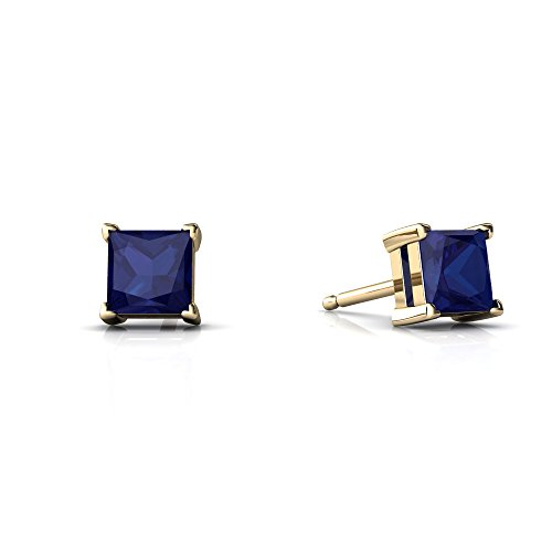 14kt Yellow Gold Lab Sapphire 4mm Square Princess Cut Stud Earrings