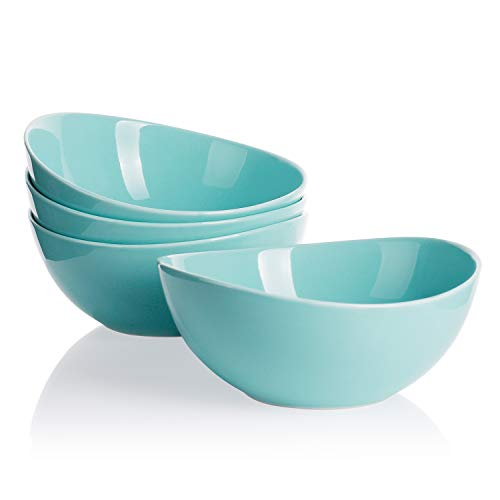 Sweese 103.102 Porcelain Bowls - 28 Ounce for Cereal, Salad and Desserts - Set of 4, Turquoise (Ceramic Turquoise Bowl)