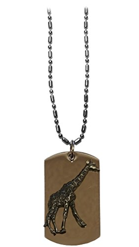 (Hat Shark GIRAFFE Pewter Emblem Logo Symbols - Military Dog Tag Luggage Tag Key Chain Metal Chain Necklace)
