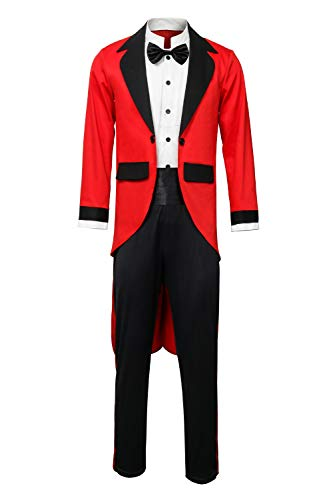 Adult Men Kids PT Barnum Red Circus Ring Master Ringmaster Showman Costume Tailcoat Jacket Outfit (Medium, Adult)