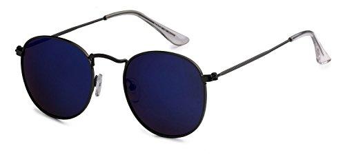 Eason Eyewear Quality Men's/Women's Vintage Inspired Metal Round Sunglasses Mirrored lens Gradient lens Gun/Blue