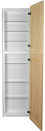 WG Wood Products Shaker Style Frameless Recessed Wall Bathroom Medicine Storage Pantry Cabinet with Multiple Finishes, 56'', Unfinished by WG Wood Products