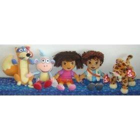 [TY Beanie Babies - DORA & DEIGO Beanies ( Set of 5 ) (Dora, Diego, Swiper, Boots & Baby Jaguar)] (Dora Diego And Boots)