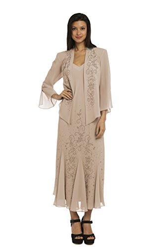 R&M Richards Plus Size 358260 Champagne Dress -Size: 16 ...