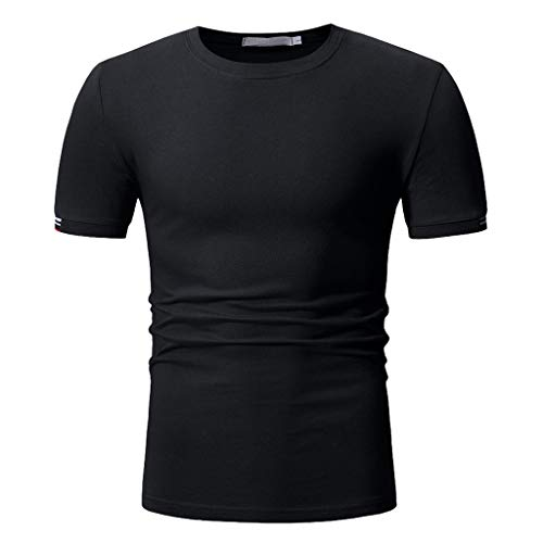 Mens Solid Color Short Sleeve T-Shirts Top Compression Baselayer Athletic Workout T Shirts -
