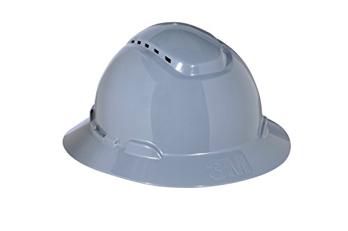 3M Full Brim Hard Hat H-808V, 4-Point Ratchet Suspension, Vented, Gray