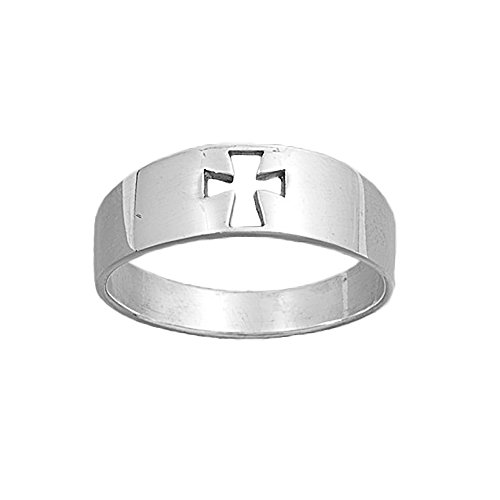 Cross Religious Ring Fashion (Sterling Silver Plain Polished Cutout Religious Cross Ring - size 7)