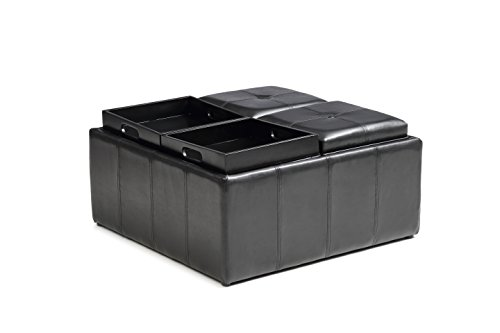 Hodedah Import HI1186 BLACK Large Ottoman with Flip Over Tray - Large Black Leather Ottoman