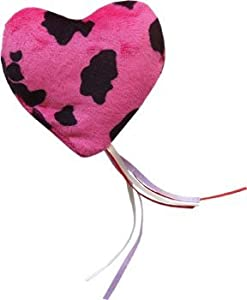 """85%OFF Imperial Cat - Cat and Around, Pink & White Heart Ribbon Pillow Refillable Catnip Toy 3.75x3.75"""" With Organic Catnip Bag (One Toy)"""