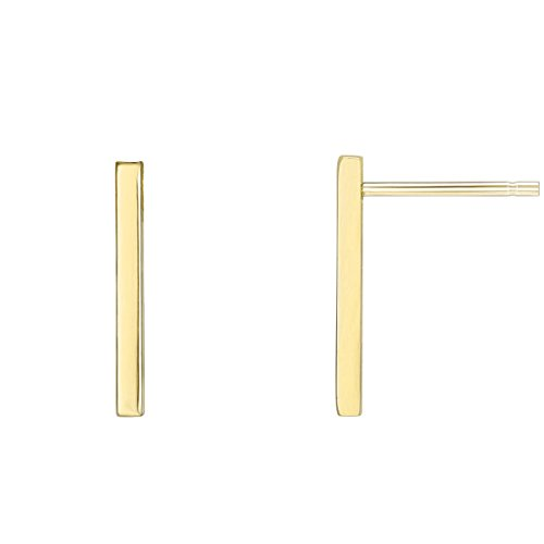 Earrings Rectangle Long - PAVOI 14K Yellow Gold Plated Sterling Silver Post Dainty Mini Bar Stud Earrings | Gold Earrings for Women | Short