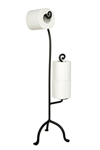Decorative Wrought Iron Swirl Toilet Paper Stand 2 Rolls Storage | Free Standing TP | Handcrafted Bathroom Décor by RTZEN ()