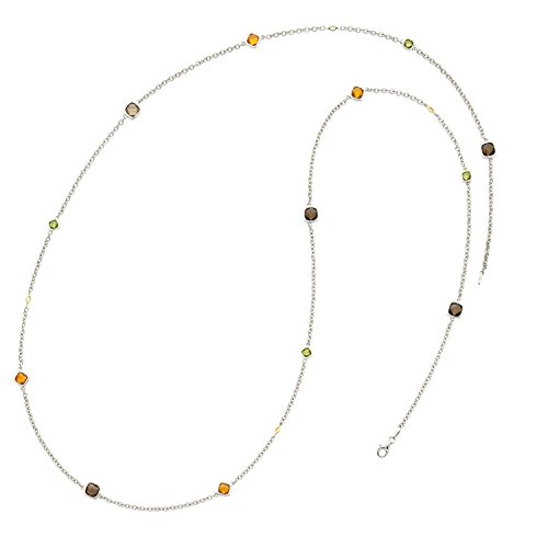 Boston Bay Diamonds Sterling Silver Peridot, Citrine and Smoky Quartz Station Long Necklace with 18K Yellow Gold Accents, 37