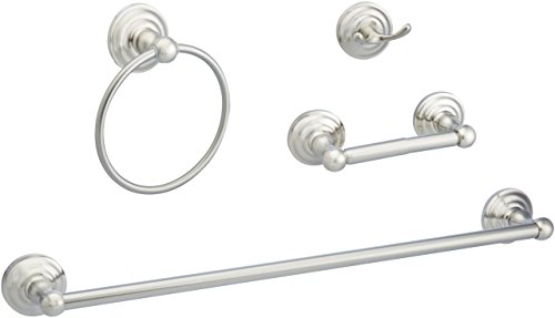 AmazonBasics Traditional Bathroom Accessories Set - 4-Piece, Satin Nickel ()