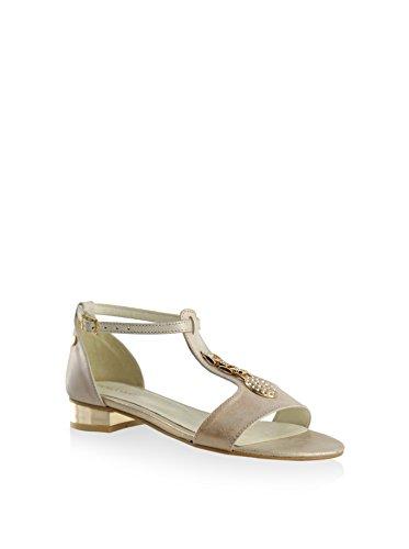 BOSCCOLO 3938-39-40 Sandals With Ornament, Saldalen, Sandales, Leder, Leather, Cuir Golden