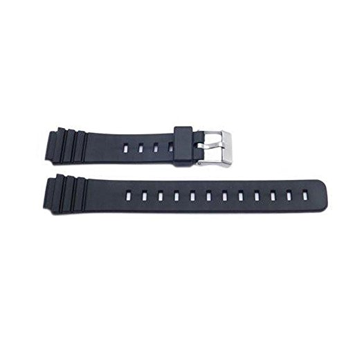 (Ladies 14mm Black Resin Durable Rubber Watch Strap)
