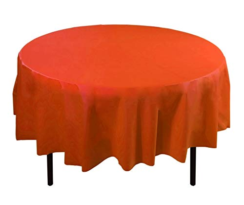 Exquisite 12-Pack Premium Plastic 84-Inch Round Tablecloth, Orange