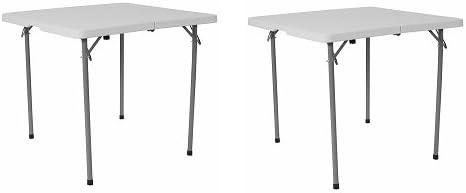 Flash Furniture 34 Square Bi-Fold Granite White Plastic Folding Table with Carrying Handle 2