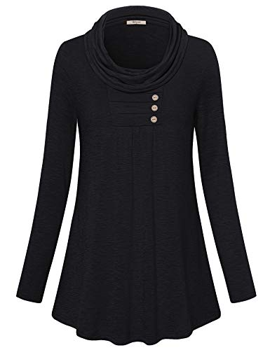 Bebonnie Tunics for Women Long Sleeve,2018 Boutique Clothing Hem Button Embellished Trendy Tops Casual Sweater Black Medium by Bebonnie