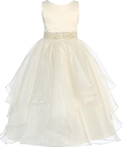 Sleeveless Flower Girl Dress Asymmetric Ruffle Satin Organza Girl Dress Ivory 8 CB302