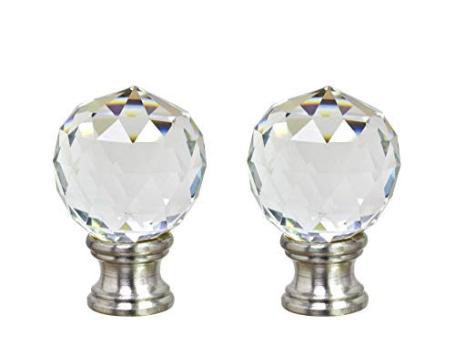 Aspen Creative 24008-12, 2 Pack, Clear Faceted Crystal Lamp Brushed Nickel Finish, 1 3/4
