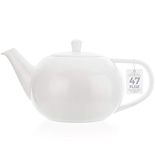 Tealyra - Large White Porcelain Teapot - 47.3-ounce (6-8 cups) - English Modern Style - Teapot with Bee Style Spout Filter To Brew Loose Leaf Tea - Ceramic Brewer Pot - 1400ml - White Porcelain Pot