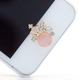 Superior Bling Rhinestone Crystal Imperial Crown Man Made Catu0027s Eye Design Home  Button Sticker For Apple
