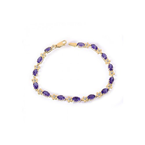 0.10 Carat Diamond and 5.00 Carat Amethyst 14K Yellow Gold Flower Link Bracelet -
