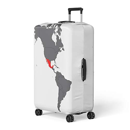 - Pinbeam Luggage Cover South Mexico Red Map on Gray America Latin Travel Suitcase Cover Protector Baggage Case Fits 26-28 inches