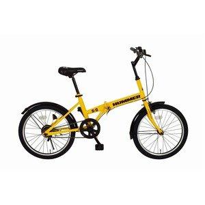 ハマー製 折りたたみ自転車 【シングルギア イエロー】 20インチ スチール 『HUMMER』 〔通勤 通学〕【代引不可】   B07PHJBG49