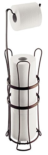 mDesign Free Standing Toilet Paper Roll Holder for Bathroom