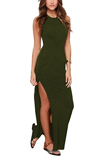 Meenew Women's Summer Holiday Sexy Bodycon Cut Out High Split Dress Green S