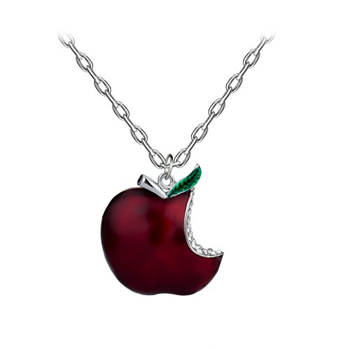 lan27 Once Upon A Time Snow White Regina Crystal Red Poison Apple Pendant Necklace (Small)