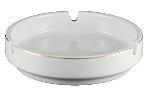 Vertex China AST-3-G Argyle and Catalina 3 Snuff Gold Band Ashtray, 4-1/2