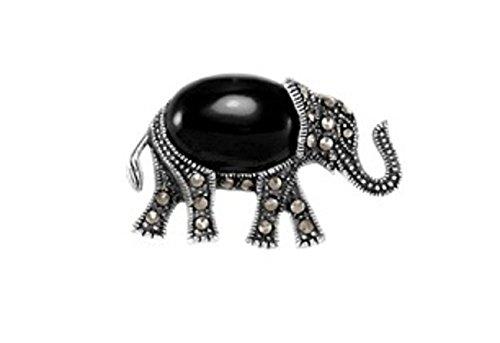 Sterling Silver Walking Marcasite Black Onyx Elephant Brooch Pin