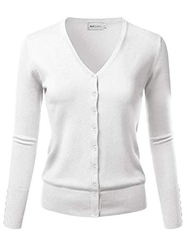 - ELF FASHION Women's V-Neck Long Sleeve Button Down Sweater Cardigan Soft Knit (S~3XL) White L