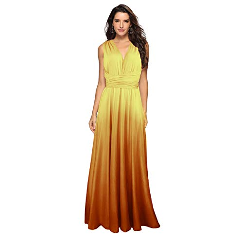 Women's Transformer Casual Gradient Color Deep V Neck Convertible Wrap Multi Way Dress Sleeveless Halter Formal Wedding Party Floor Length Cocktail Gown Long Maxi Dress Gradient Yellow Large]()