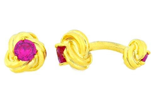 (Elizabeth Jewelry 14Kt Yellow Gold Plated Brass Created Ruby Knot Cufflinks)