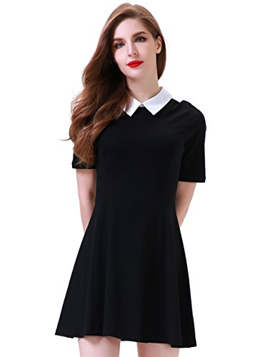 Aphratti Women's Short Sleeve Casual Peter Pan Collar Flare Dress Black Large