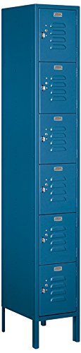 Salsbury Industries 66165BL-U Six Tier Box Style 12-Inch Wide 6-Feet High 15-Inch Deep Unassembled Standard Metal Locker, Blue -