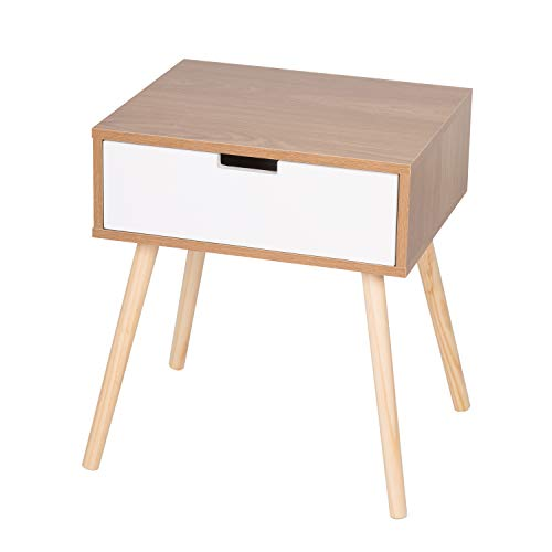 Worldrich White Light Walnut Side End Table Nightstand with Storage Drawer Solid Wood Legs Bedroom Furniture