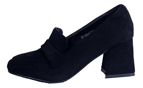 AgeeMi Shoes Femmes Escarpins Glisser sur Talon Bloc Carré Solide Chaussures Noir fpLJAKmO