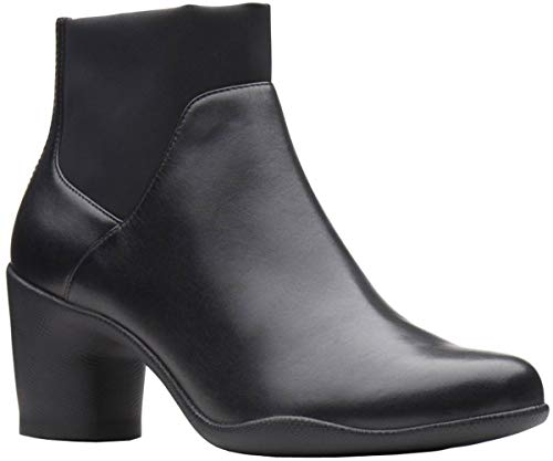 CLARKS Womens Un Rosa Mid Boot, Black Leather, Size - Genuine Boots Womens