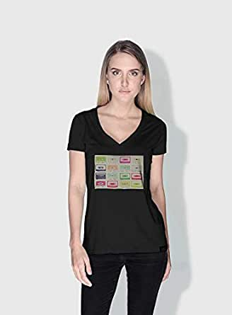 Creo Tapes Retro T-Shirts For Women - Xl, Black